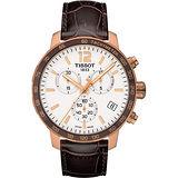 TISSOT T-Sport Quickster 競速運動計時腕錶-白x玫瑰金框/42mm T0954173603700