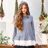 【Begonia】點點布蕾絲層次拼接棉麻上衣(共二色)