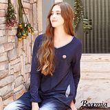 【Begonia】點點布蕾絲拼接後開衩竹節棉上衣(共二色)