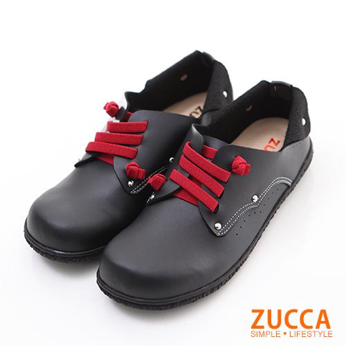ZUCCA【Z6004BK】日系穿繩金屬圓點包鞋-黑色