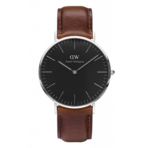 Daniel Wellington 深褐色皮革腕錶-銀框/40mm(DW00100131)