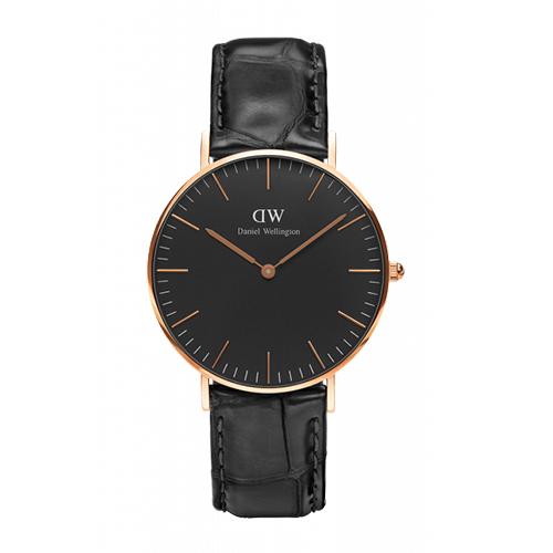 Daniel Wellington 經典黑色壓紋皮革腕錶-金框/36mm(DW00100141)
