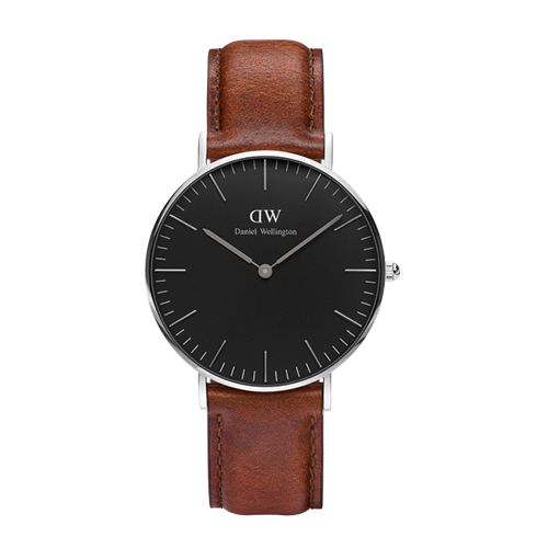 Daniel Wellington 經典淺紅咖啡皮革腕錶-銀框/36mm(DW00100142)