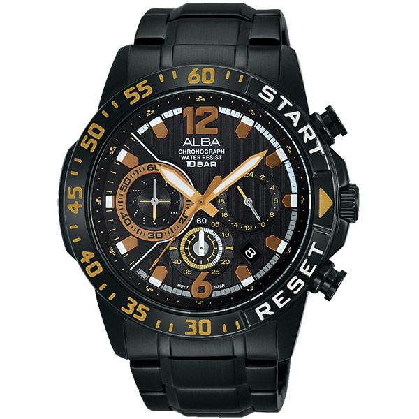 ALBA ACTIVE 活力運動計時腕錶-黑/ 44mm VD53-X239SD(AT3965X1)