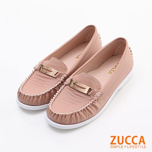 ZUCCA【Z6006PK】日系金屬車縫平底包鞋-粉色
