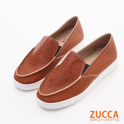 ZUCCA【Z6022CE】日系漆皮豹紋厚底包鞋-棕色