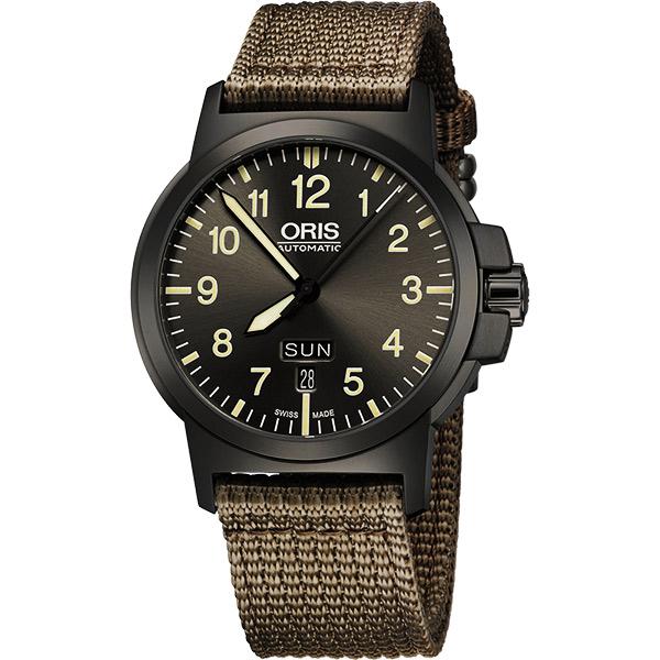 Oris BC3 Advanced 日曆星期機械腕錶-鐵灰x墨綠/42mm 73576414263-0752222G
