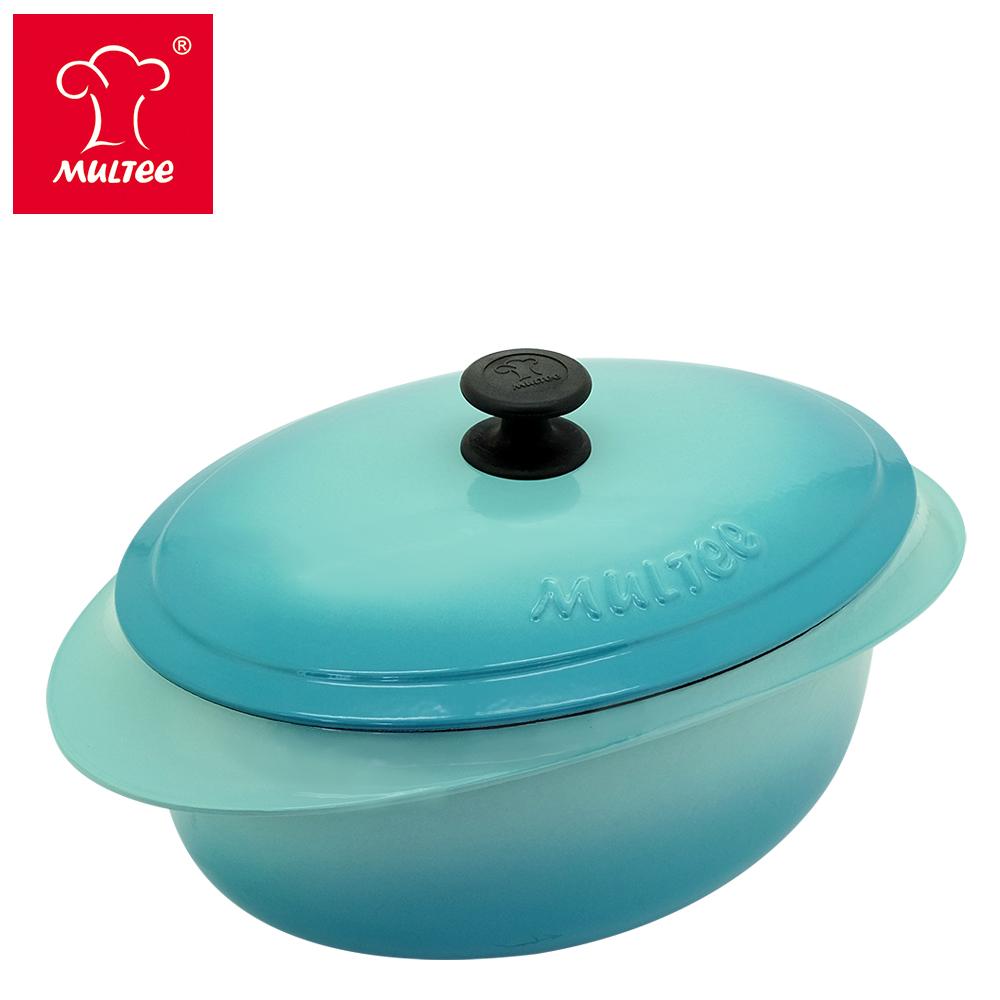 【MULTEE摩堤_鑄鐵鍋系列】饗宴鍋系列─32cm鑄鐵橢圓鍋(TIFFANY藍)
