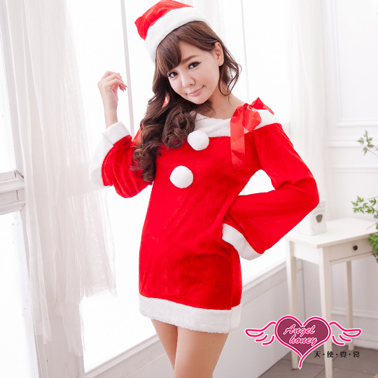 【天使霓裳】聖誕服 愛在聖誕 耶誕舞會角色扮演表演服(紅F)