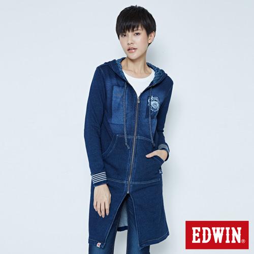 EDWIN 江戶勝 長版連帽外套-女-酵洗藍