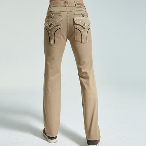 BOBSON 男款低腰繡花彈性直筒褲(1800-72)