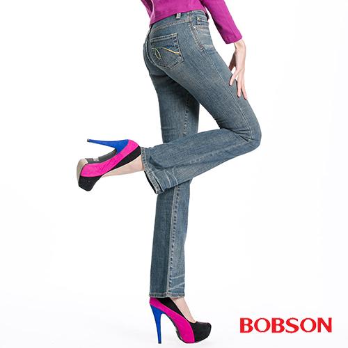 BOBSON 貓鬚刷白伸縮小喇叭褲(9018-77)