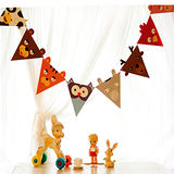 【PS Mall】卡通動物三角旗 牆壁裝飾 吊飾 萬聖節聖誕節 (J753)
