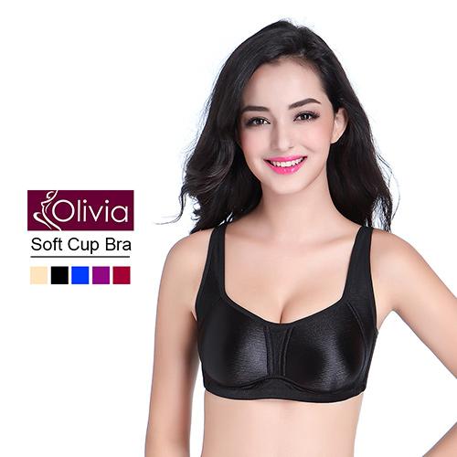 【Olivia】無鋼圈無痕拉絲集中收副乳內衣-黑色