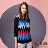 【麥雪爾】滿版幾何圖案棉質針織衫 -黑色