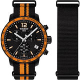 TISSOT 天梭表 QUICKSTER NATO 活力運動腕錶-黑x橘/42mm T0954173705700