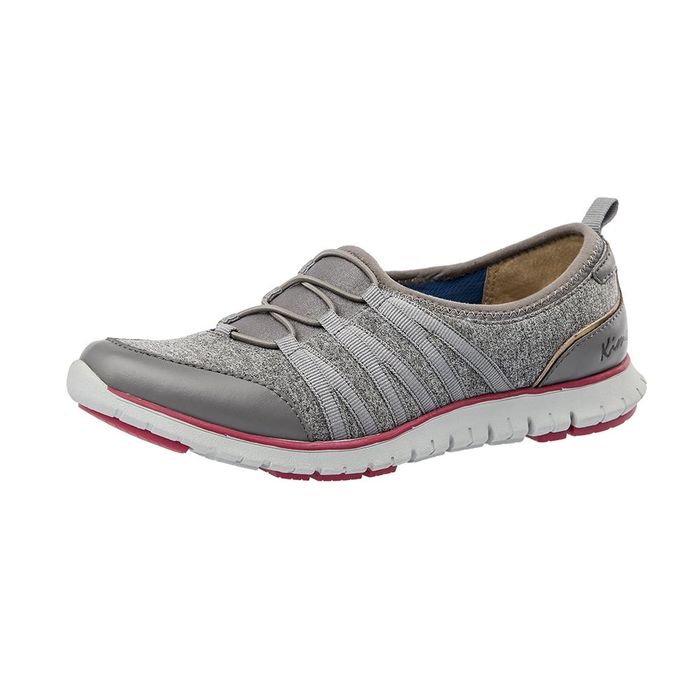 【Kimo德國手工氣墊鞋】多材質設計款假綁帶彈性輕質舒適平底休閒鞋(輕盈灰K16WF081052)