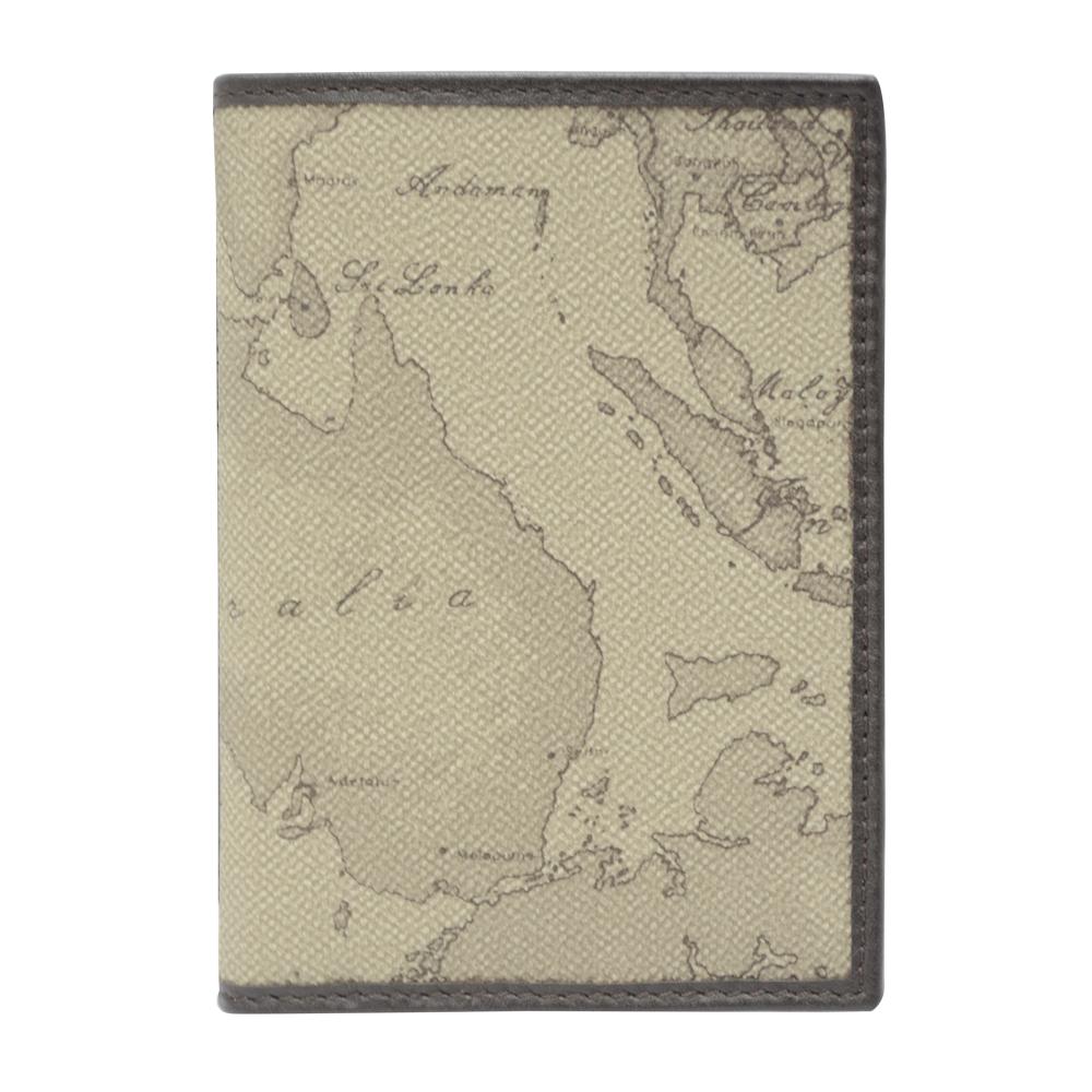 Alviero Martini 義大利地圖包 旅行系列 經典直立4卡短夾-地圖灰