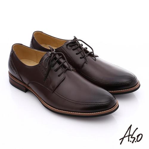 A.S.O 職人通勤 簡約全真皮綁帶紳士皮鞋(咖啡)