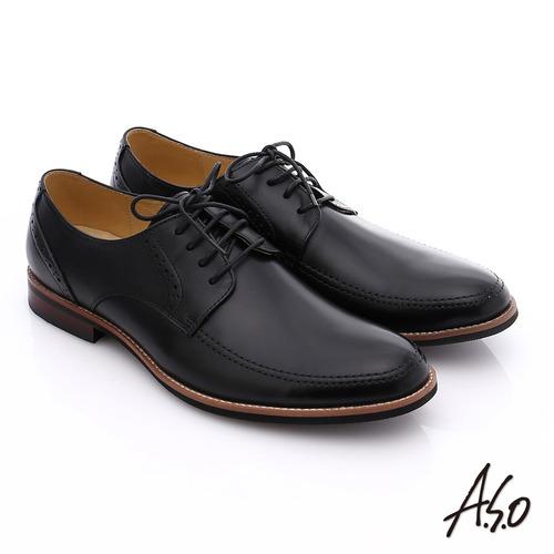 A.S.O 職人通勤 簡約全真皮綁帶紳士皮鞋(黑)