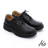 A.S.O 抗震雙核心 真皮彈力綁帶奈米休閒鞋(黑)