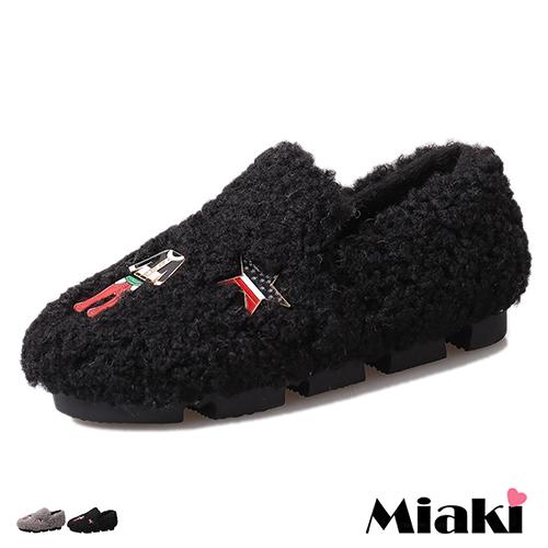 【Miaki】休閒鞋韓暖心童趣絨毛平底懶人包鞋 (灰色 / 黑色)
