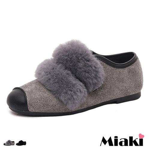 【Miaki】休閒鞋韓皮草飾異材拼頭細絨平底懶人包鞋 (黑色 / 灰色)
