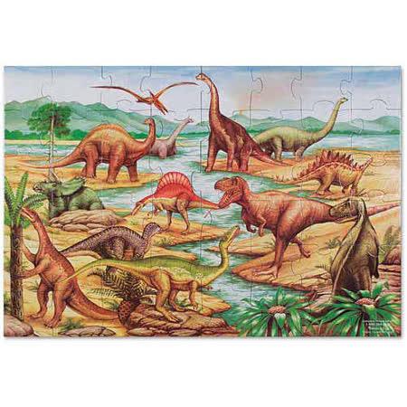 美國 Melissa & Doug 大型地板拼圖 - 史前恐龍【48 片】- 特大尺寸,成就感加倍