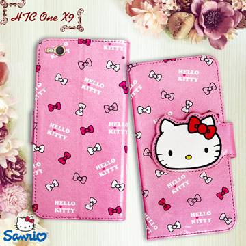 三麗鷗授權正版 Hello Kitty 凱蒂貓 HTC One X9 閃粉絲紋彩繪皮套(蝴蝶結粉)