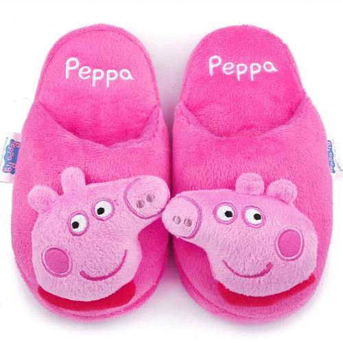 童鞋城堡-粉紅豬小妹 佩佩豬 中童 立體造型絨毛拖PG0038-桃