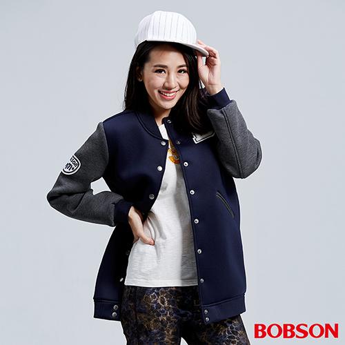 BOBSON 女款太空布長版棒球外套 36106~53