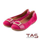 TAS 太妃Q系列 柔軟乳膠立體金屬水鑽釦飾娃娃鞋-俏桃紅