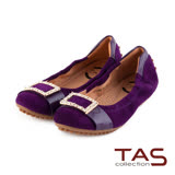 TAS 太妃Q系列 柔軟乳膠立體金屬水鑽釦飾娃娃鞋-微醺紫