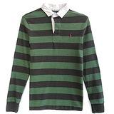 Ralph Lauren 小馬百領雙色條紋長袖男POLO衫(綠x黑)