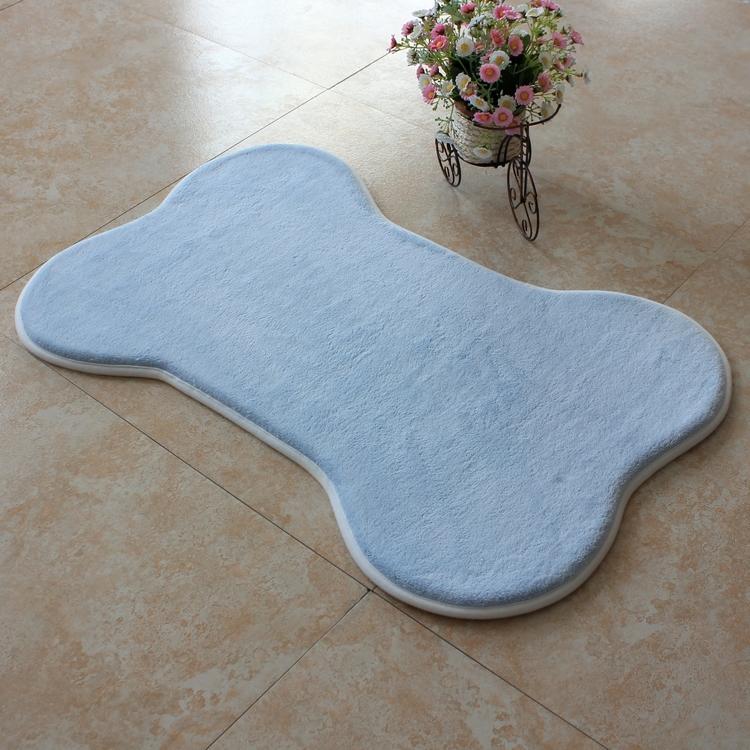 【旺寶】超強回彈優質珊瑚絨厚實狗骨頭造型地墊地毯腳踏墊(藍色)