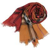 BURBERRY 經典大格紋羊毛絲綢披肩/圍巾(橘紅格)