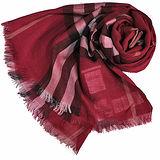 BURBERRY 經典大格紋羊毛絲綢披肩/圍巾(紅格)