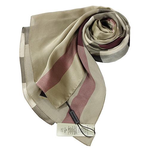 BURBERRY格紋絲綢緞面圍巾(駝色)
