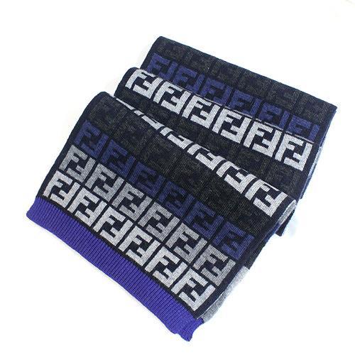 【FENDI】經典雙F緹花毛圍巾(深藍色)