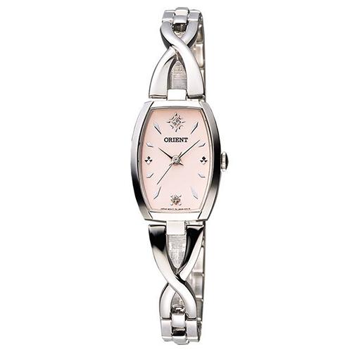 ORIENT 東方 淑女時尚晶鑽風格女用腕錶-粉x銀/20mm/FUBUH004Z