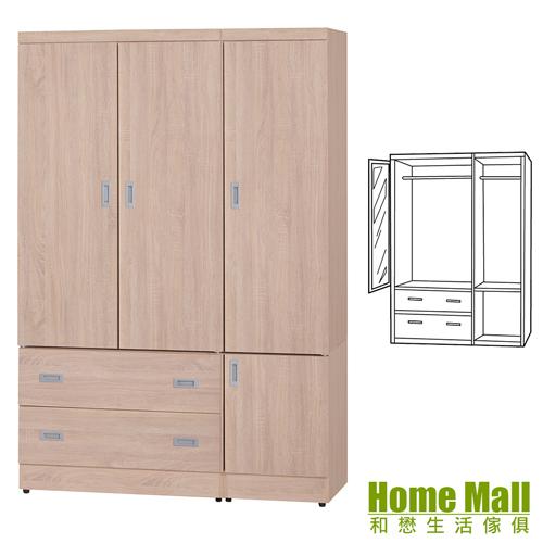 HOME MALL-卡特簡約-4X6尺木心板衣櫃(梧桐色)