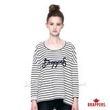 BRAPPERS 女款 條紋繡logo寬鬆長袖上衣-米底黑條
