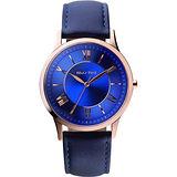 RELAX TIME RT58 經典學院風格腕錶-藍x玫瑰金框/36mm RT-58-12L