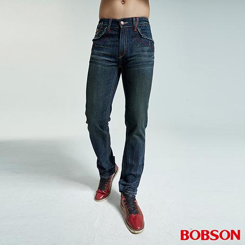 BOBSON 男款繡花變化款深藍直筒褲 1728~52