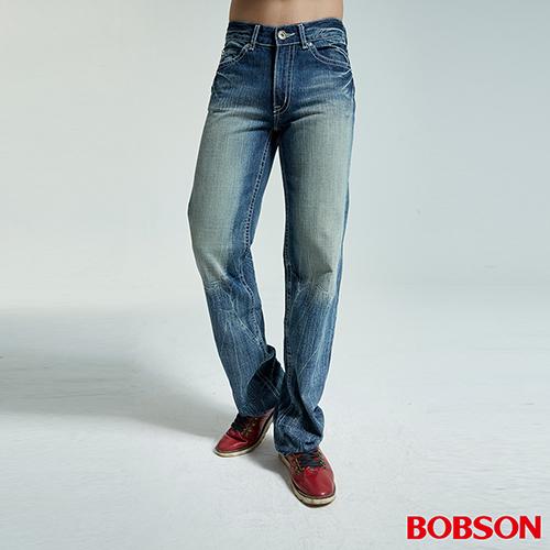 BOBSON 男款鬼爪刷白淺藍中直筒褲 1732~53