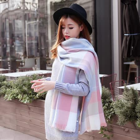 【幸福揚邑】英倫粉藍格子圍巾羊絨質感超大加厚長版披肩 -friDay購物