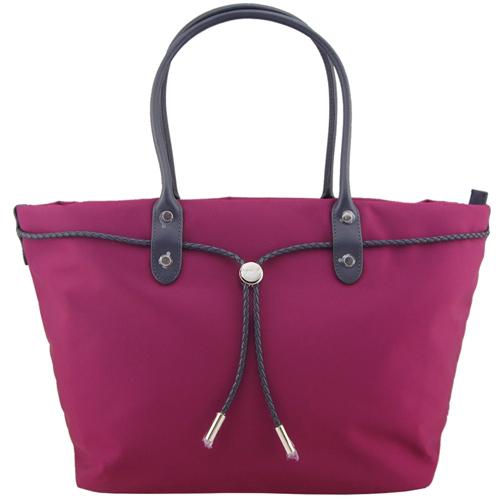 agnes b. 尼龍麻繩束袋手提包(大/紫紅)
