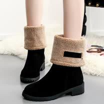 【Moscova】韓版流行風 一靴兩穿保暖粗跟造型中筒靴-黑色