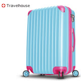 【Travelhouse】獨領風潮 24吋電子抗刮PC旅行箱(水藍)