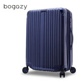 【Bogazy】祕密花園 20吋PC可加大鏡面行李箱(寶石藍)